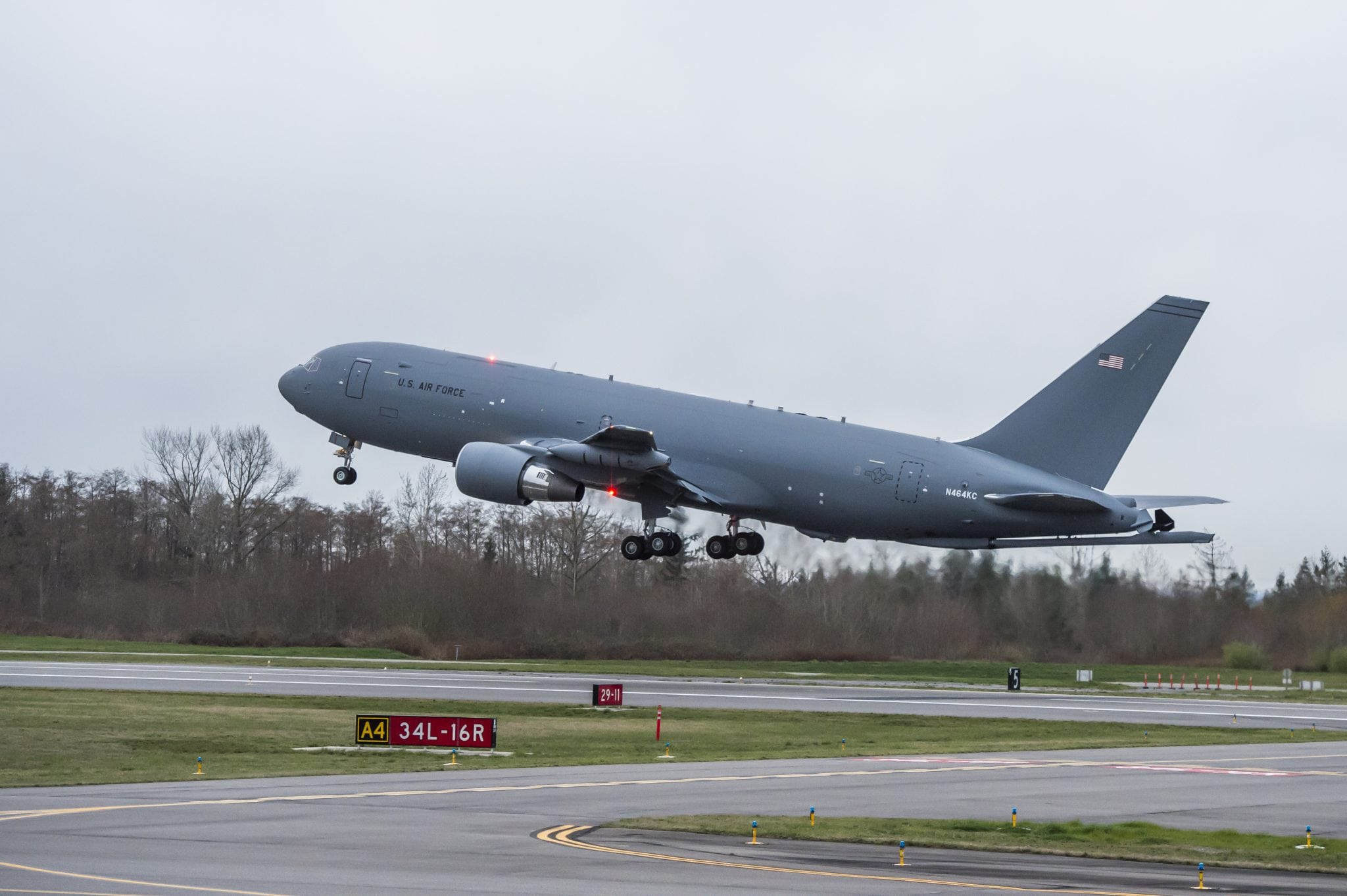 Boeing's second KC-46 tanker (EMD-4) takes off from Paine Field in Everett on its first flight