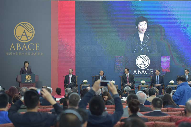 Fang Liu, ICAO Secretary General, highlights the impact of business aviation in Asia during her keynote speech at ABACE2016