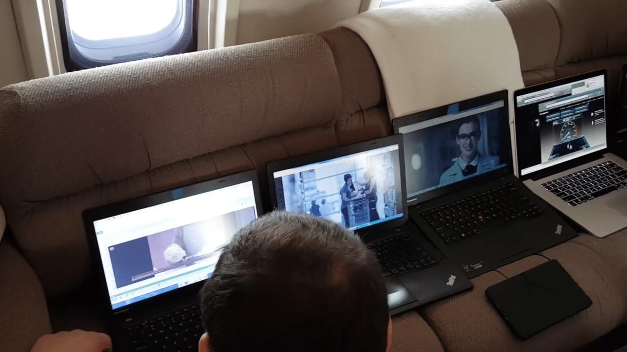 Gogo demonstrates the Biz Av 4G capability to run multiple videos at once