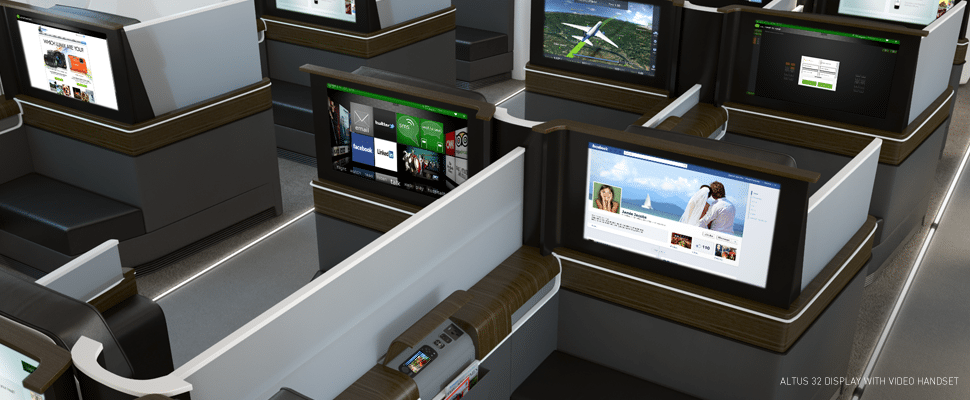 Rendering of aircraft cabin equipped with Panasonic Avionics eXconnect broadband IFEC solution