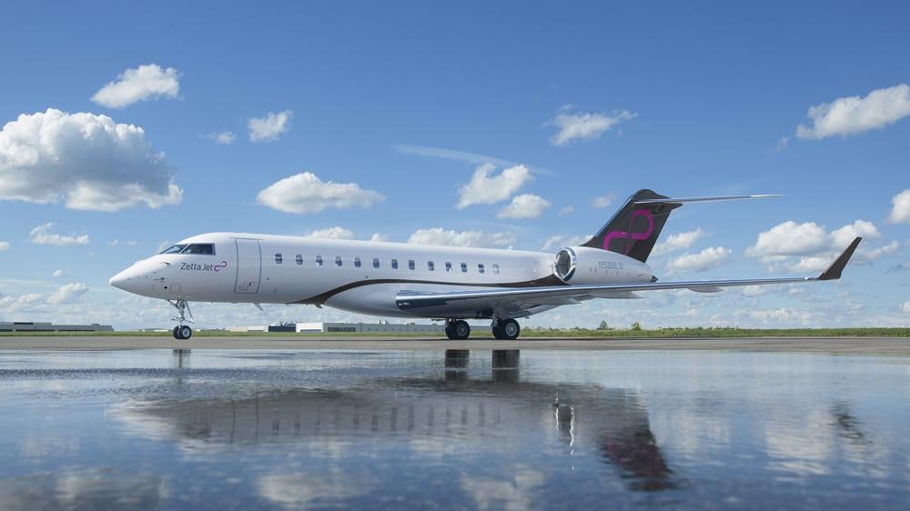 Zetta Jet Global 6000 on runway