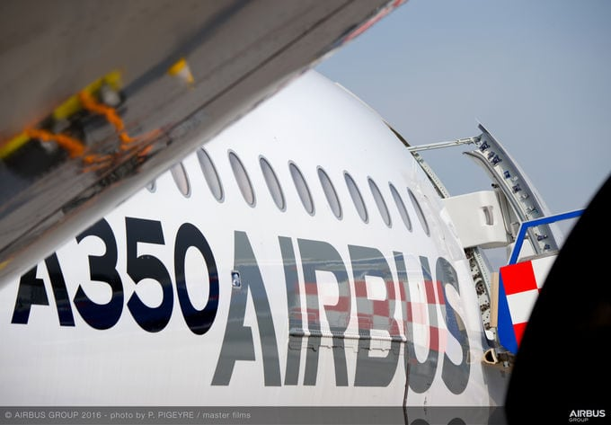 Airbus showcased its highly-efficient A350 XWB aircraft during a stopover at FIDAE 2016, where the aircraft was on static display and performed high-profile flying presentations during the week