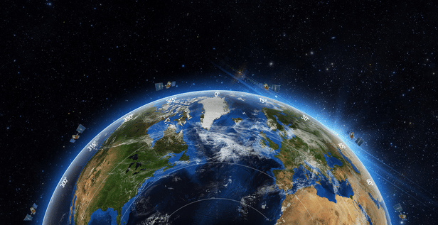 Rendering of Aireon satellites above earth