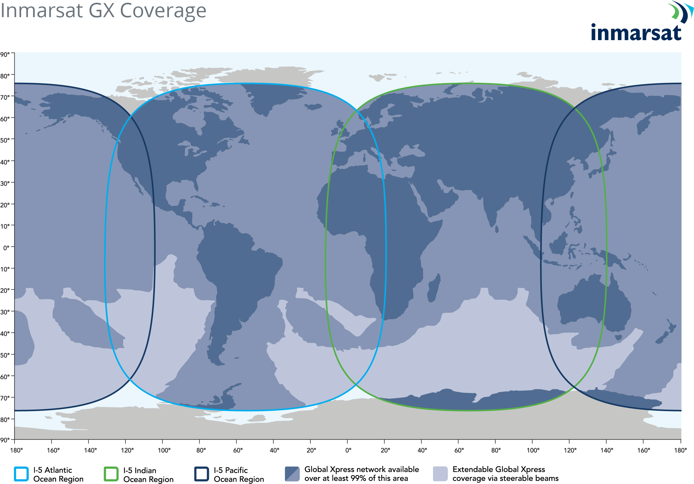 Inmarsat's GX Coverage Map for the Jet Connex in-flight connectivity system