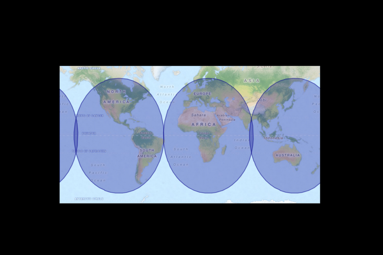 The worldwide coverage for BendixKing's AeroWave 100 service