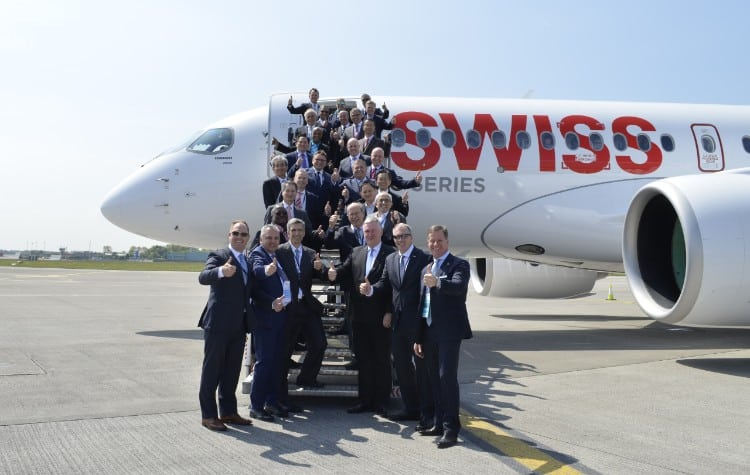 ombardier and Star Alliance CEOs and executives fly on the first CS100 passenger flight