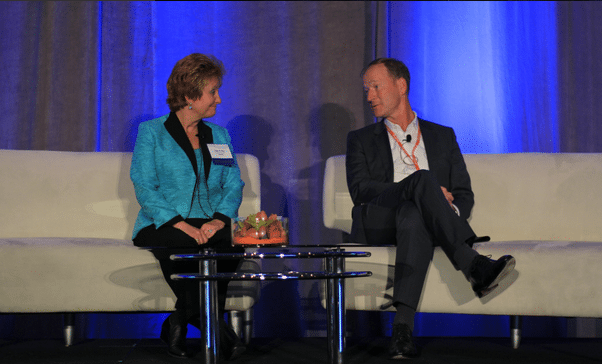 Ingo Gathje, vice president and head of cabin and cargo innovation at Airbus and Boeing's Faye Francy, executive director of Aviation Information Sharing and Analysis Center (A-ISAC) during the Airframers Panel at the 2016 GCA Summit