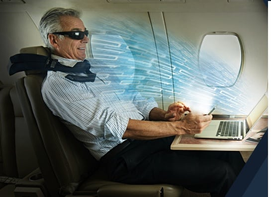 Rendering of a passenger using TrueNorth's Optelity in-flight connectivity service