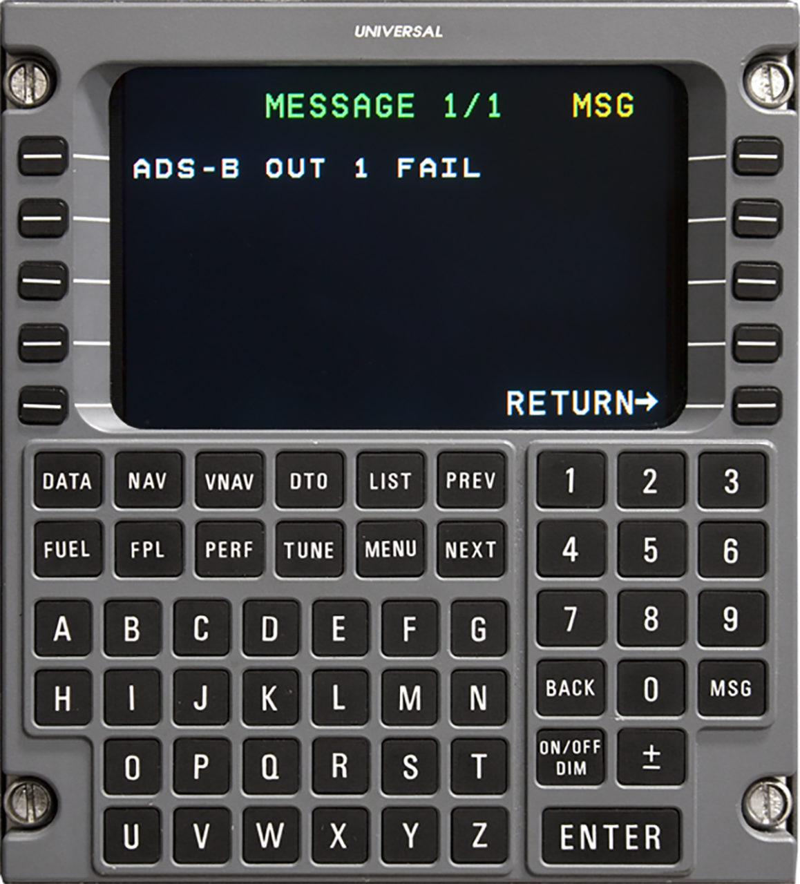 Universal Avionics SBAS-FMS ADS-B Out fail message