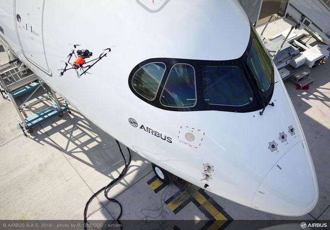 UAV inspecting an Airbus A330