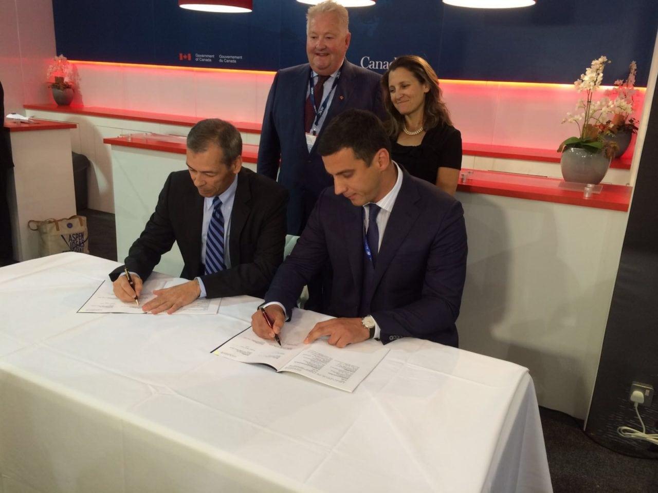 Left to Right: Esterline CMC Electronics Avionics Systems President Michel Potvin and Antonov Company President Oleksandr Kotsiuba sign avionics agreement