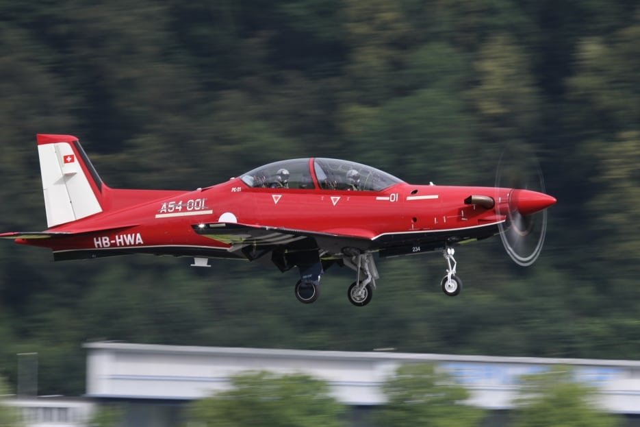 The Pilatus PC-21 aircraft taking its first initial production test flight at their factory in Stans, Switzerland