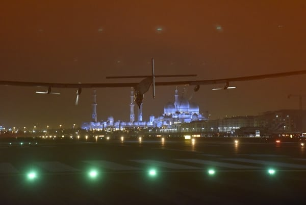 Solar Impulse 2 landing in Abu Dhabi on July 26, completing its world tour