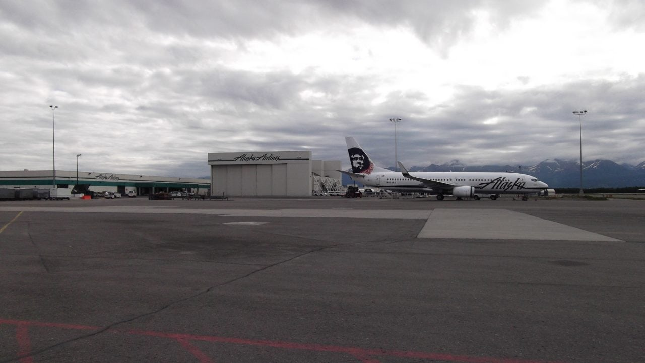 Alaska Airlines' current maintenance hangar in Anchorage, Alaska