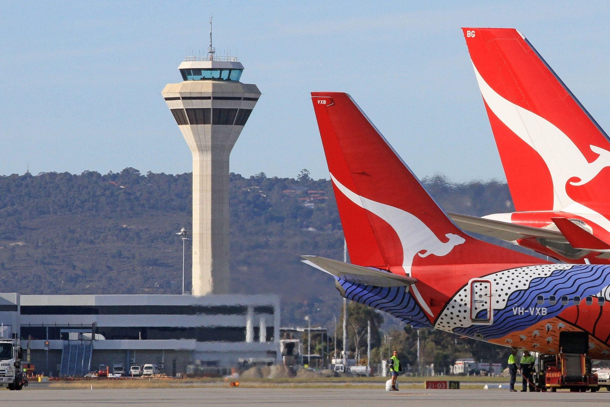 Air traffic control tower at Perth International Airport in Australia
