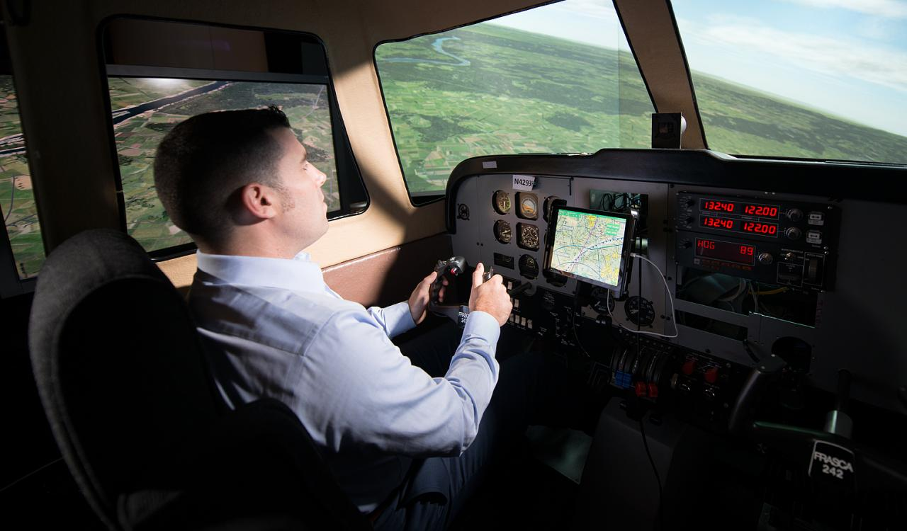 Pilot using the Digital Copilot capabilities on an EFB