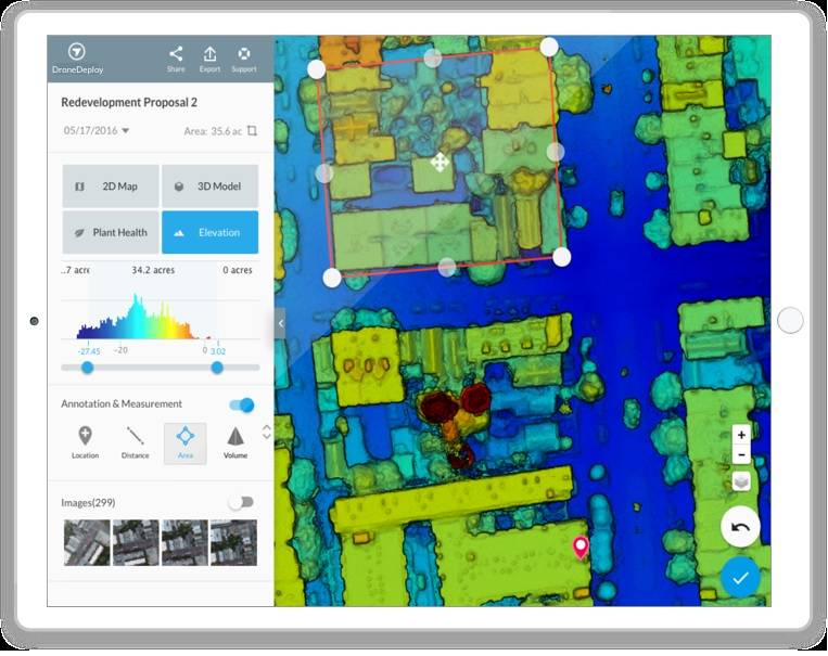 DroneDeploy elevation map on a tablet