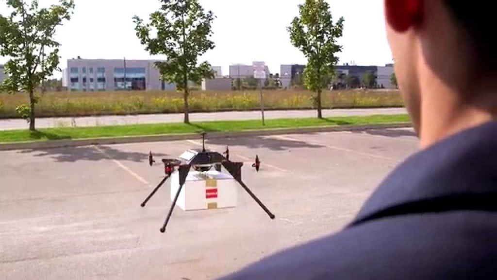 In September 2016, the company achieved payload pickup and drop-off capabilities utilizing its semi-autonomous autopilot system. Photo courtesy of Drone Delivery Canada.