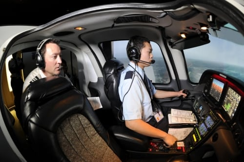 A pilot in training during primary flight certification. Photo: Aerosim