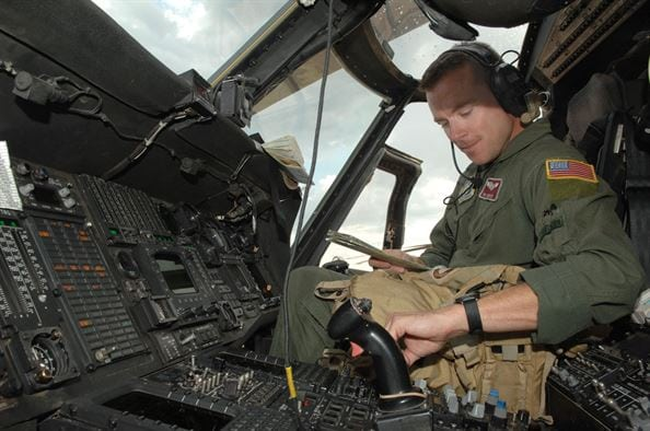 U.S. Air Force Pilot in the cockpit of an HH-60G Pave Hawk helicopter