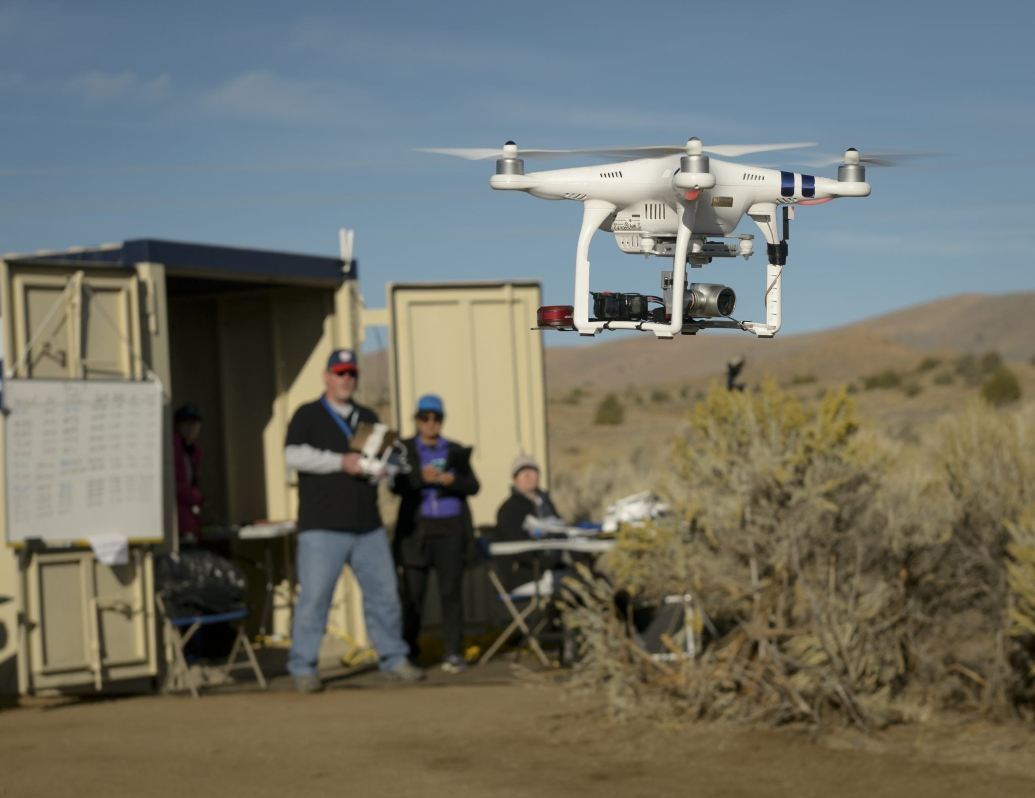 Drone Co-habitation Services operates a Phantom 3 commercial multi-rotor unmanned aircraft, one of 11 vehicles in the UTM TCL2 demonstration that will fly beyond line of sight of the pilot in command in Nevada test