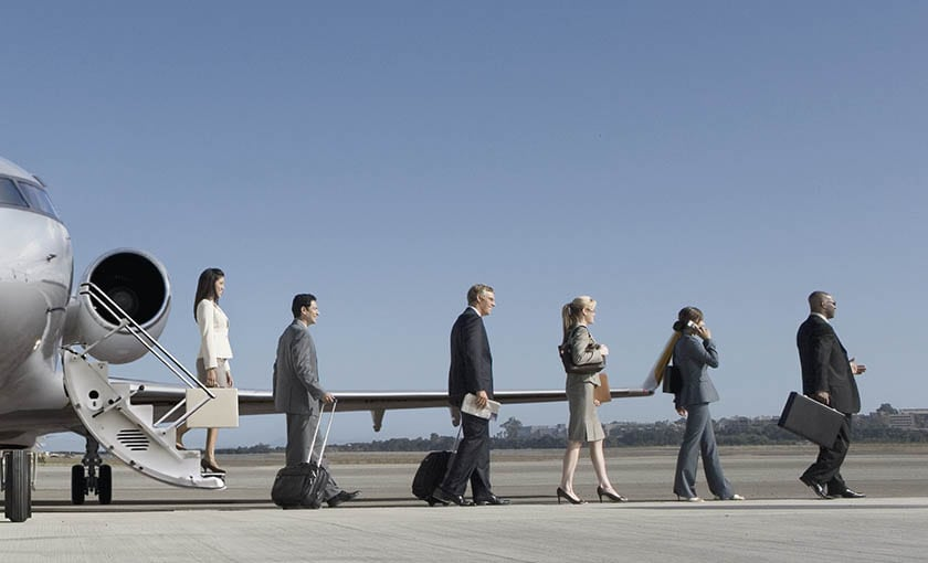 Passengers disembarking a Bombardier Global 650
