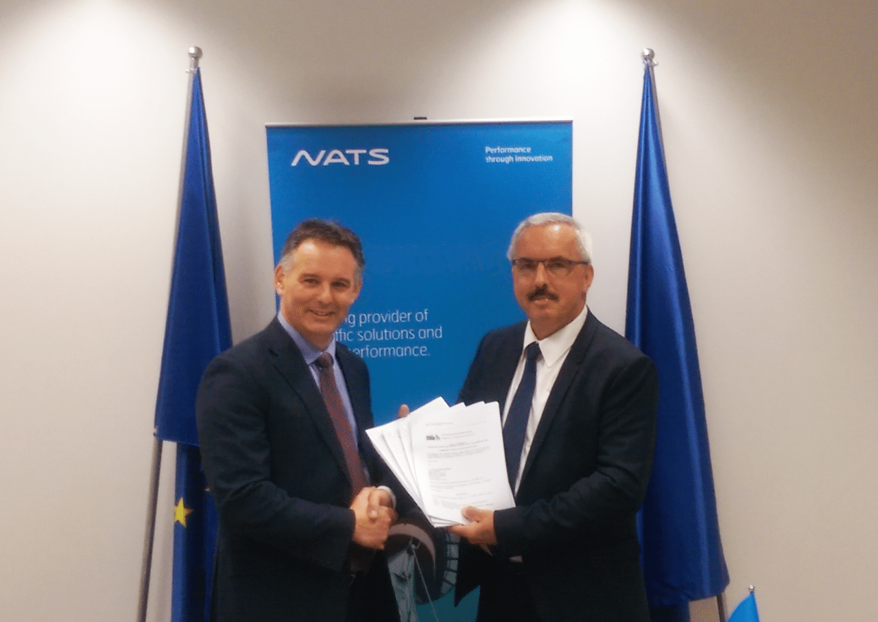 Paul Haskins, Director of Service, Strategy and Transformation at NATS and Mr Dirk Beckers, Director of the Innovation and Networks Executive Agency (INEA) formally exchanged signed copies of four grant agreements at a ceremony in Brussels. Photo: NATS