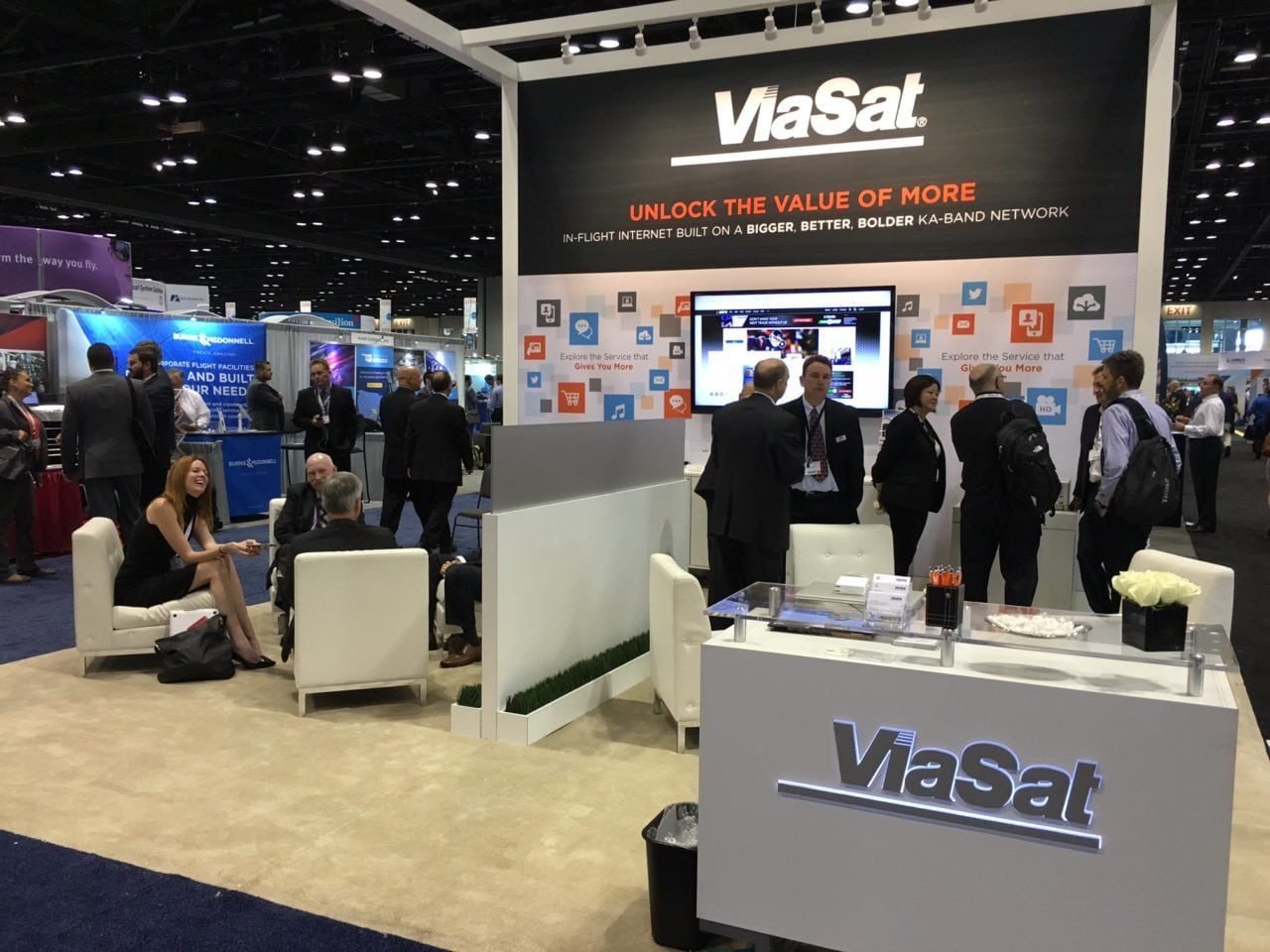 ViaSat's booth at NBAA
