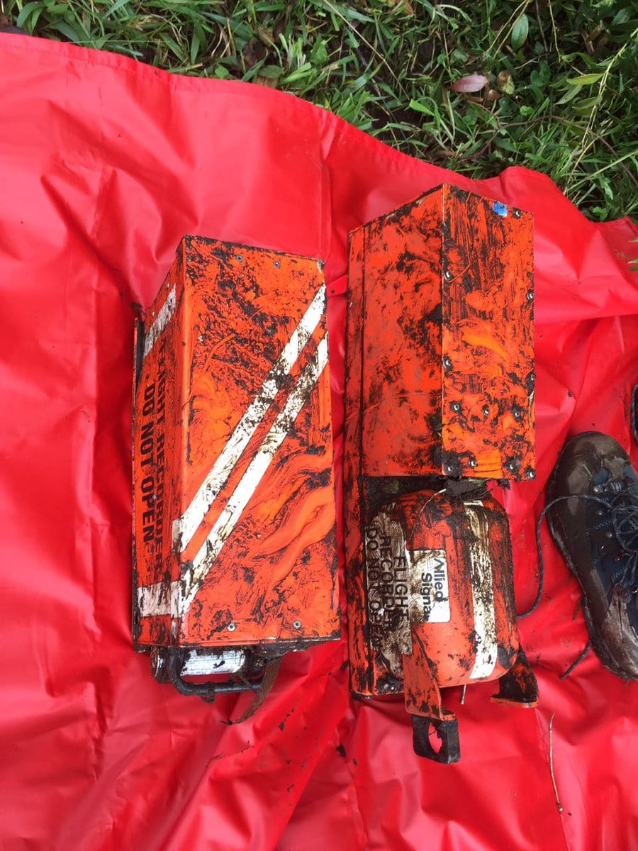 Flight data recorder and cockpit voice recorder recovered from the wreckage of LaMia Bolivia airlines flight 2933. Photo: Aerocivil Colombia
