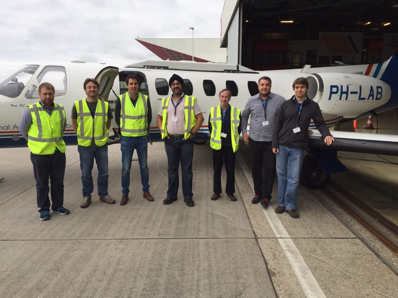 Team members from Inmarsat, the European Space Agency (ESA) and Honeywell during recent test flights for the Iris Precursor air traffic modernization project. Photo: Inmarsat