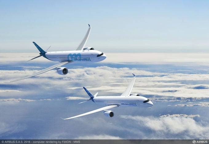A350-900 and A330-900neo in flight