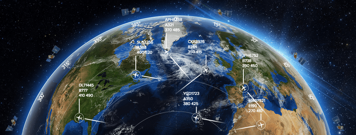 Rendering of Aireon's space-based ADS-B satellite network. Photo: Aireon