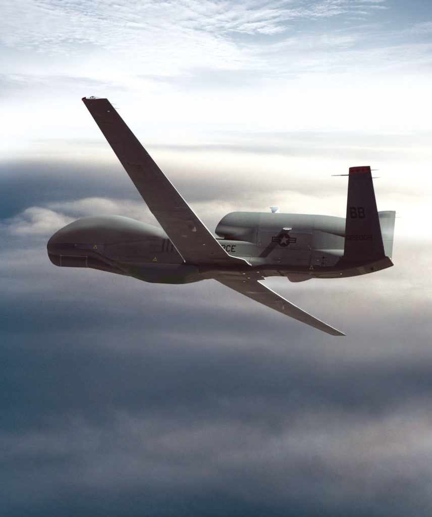RQ-4A Global Hawk Primary function: High-altitude, long-endurance unmanned aerial reconnaissance system. Speed: 390 mph. Dimensions: Wingspan 116 ft. 2 in.; length 44 ft. 4 in.; height 15 ft. 2 in. Range: 10,932 miles. Endurance: 35 hours. Crew: Three pilots and sensor operator on the ground.