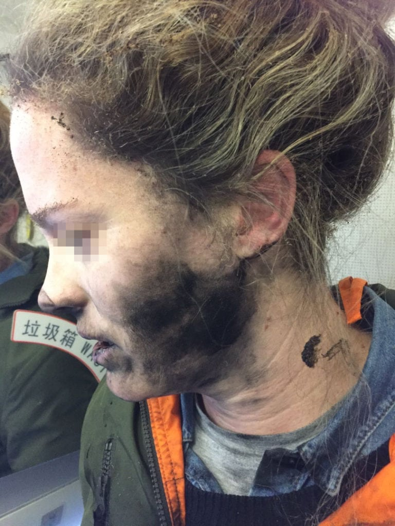 A passenger's headphones caught on fire during an airline flight between Melbourne and Beijing. Photo: ATSB.