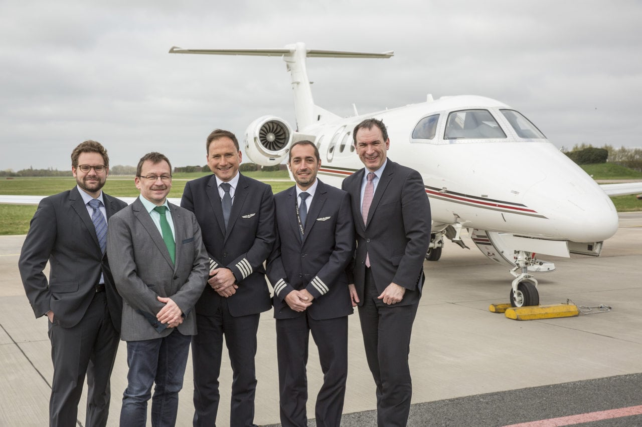 Members of NetJets Europe, DFS, after completing Germany's first SBAS approach at Bremen Airport. Photo: DFS.