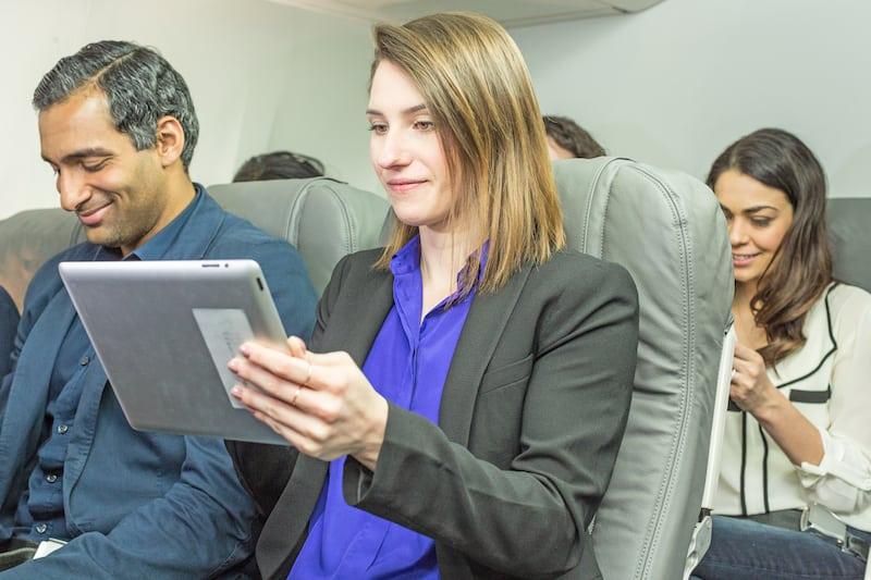 An airline passenger using Gogo's IFC. Photo: Gogo.