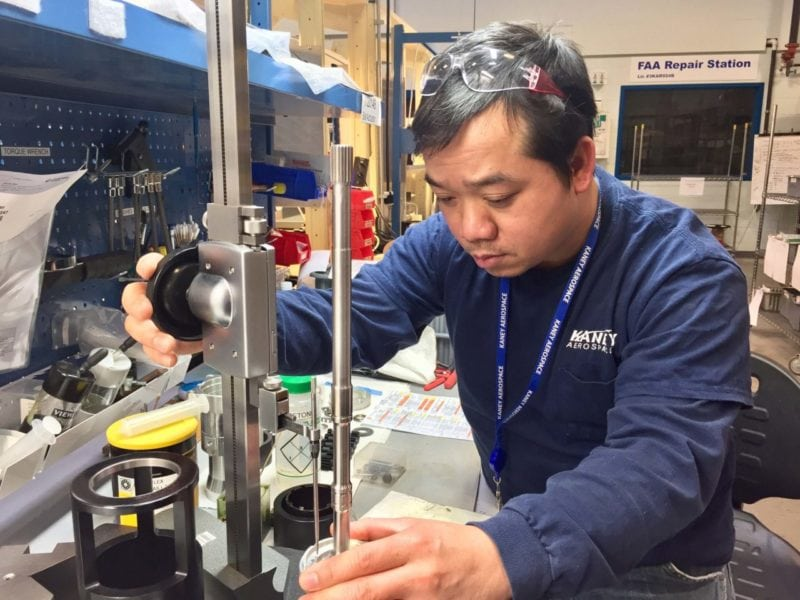 A technician inside the Kaney Aerospace manufacturing facility. Photo: Kaney Aerospace.