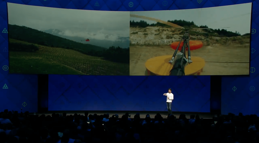 Facebook's connectivity lead Yael Maguire shows the crowd a new helicopter solution at F8 2017. Image courtesy of Facebook video.