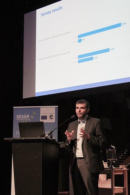 SESAR JU Executive Director Florian Guillermet discusses U-Space plan at SESAR JU workshop. Photo: SESAR JU.