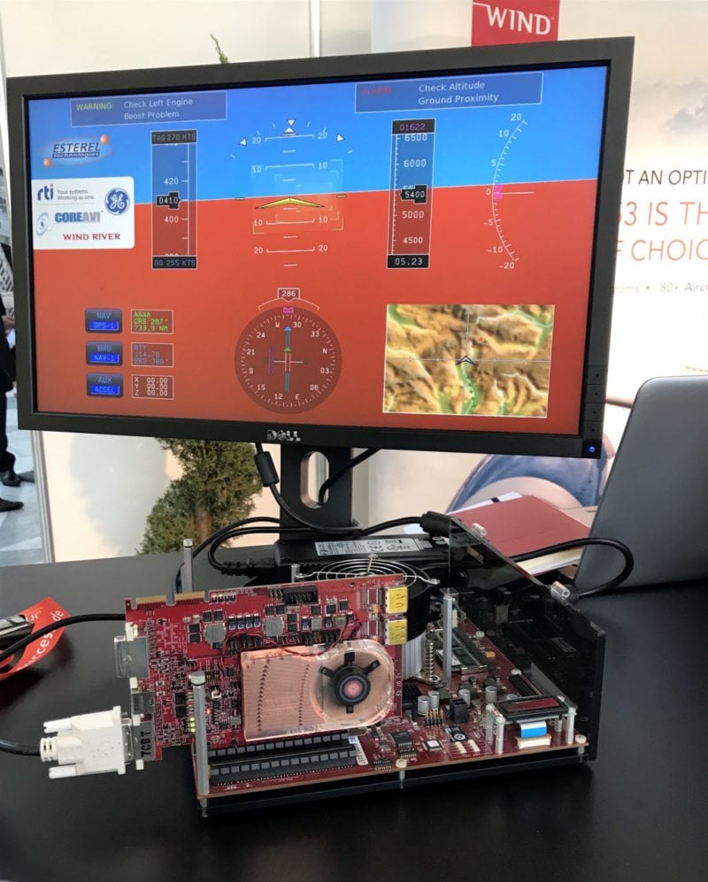Wind River cockpit display development technology on display at Aviation Electronics Europe 2017.