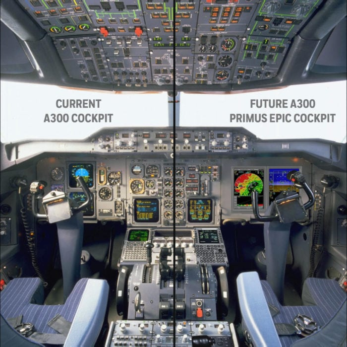 A before and after view of what the UPS A300 cockpits will look like. Photo: UPS.