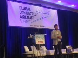Google's Max Coppin gives a keynote presentation at Global Connected Aircraft Summit 2017