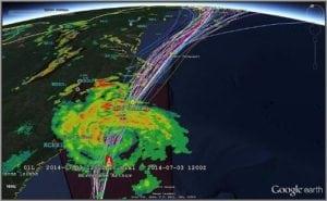 WxOps weather information displayed over Google Earth. Photo: WxOps.