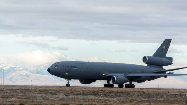 A KC-10 takes off at Mountain Home Air Force Base, Idaho, Dec. 3, 2016. The KC-10 is a multi-role 'heavy' aircraft used for transportation of personnel and equipment.(U.S. Air Force photo by Senior Airman Connor Marth/Released)