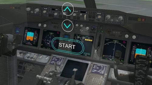 A commercial airplane cockpit as seen through HoloLens. Photo: Microsoft.