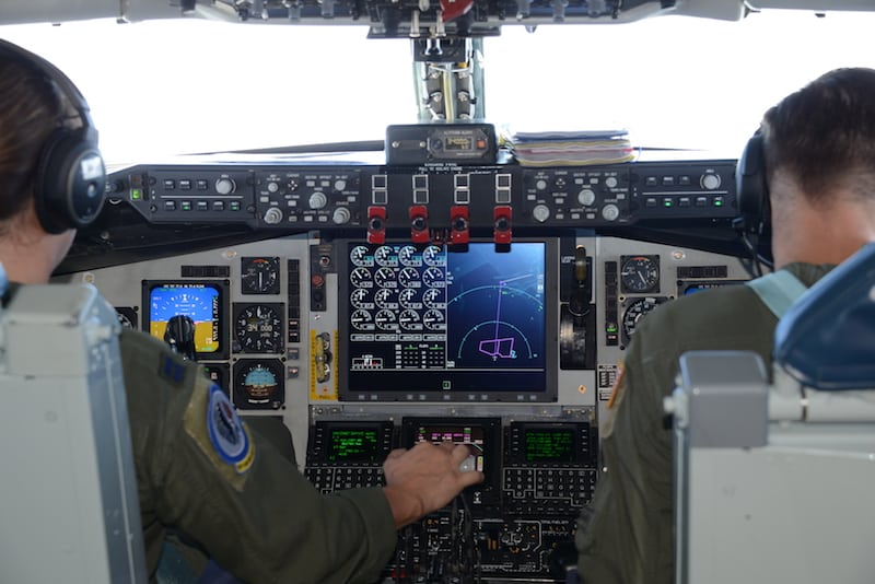 Pilots with the Iowa Air National Guard's 185th Air Refueling Wing's fly the unit's first KC-135 aircraft converted with the newest digital avionics cockpit instruments, known as the Block 45 modification, back to Sioux City, Iowa on August 25, 2017. The new instrument panel replaces the radio altimeter, auto-pilot, digital flight director on the center column of the cockpit. U.S. Air National Guard Photo by Master Sgt. Vincent De Groot 185th ARW PA/Released
