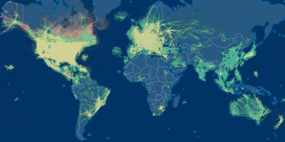 FlightAware's latest coverage map. Photo: FlightAware.
