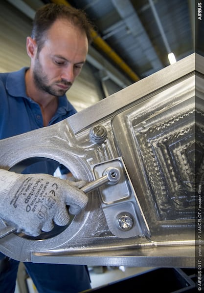 Arconic and Airbus achieve a 3D printing first—the installation of a 3D printed titanium bracket, shown here, onto a series production Airbus commercial aircraft, the A350 XWB. (Photo: Business Wire)