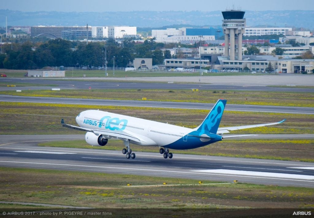 Designated the MS1795, the first of three A330neo family development aircraft to fly lands at France's Toulouse-Blagnac Airport after its high-profile maiden flight. Photo by P. Pigeyre/master films courtesy of Airbus
