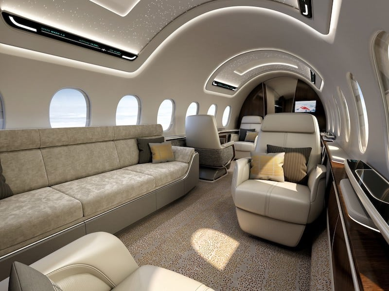 AS2 interior carries 12 in large-business-jet comfort up to 5,400 nautical miles (6,215 statute miles/10,000 km). Max. cruise speed is Mach 1.4, about 55 percent faster than todayís fastest commercial jets, at a speed greater than 1,000 mph/1,600 kph. The AS2 saves as much as three hours across the Atlantic and more than five hours across the Pacific. Aerion is working with Lockheed Martin and GE Aviation to develop the AS2. (PRNewsfoto/Lockheed Martin Aeronautics Com)